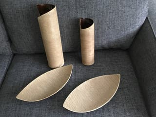 Set of Matching Pottery Vases and Dishes.