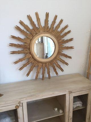 Espectacular espejo artesanal color dorado antiguo