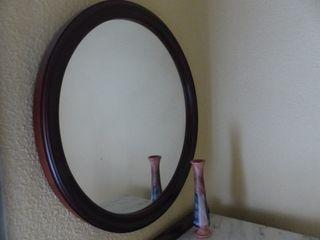 Espejo de pared redondo madera
