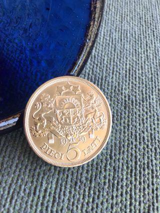 Moneda de Plata 0,720 República Latvijas 1929