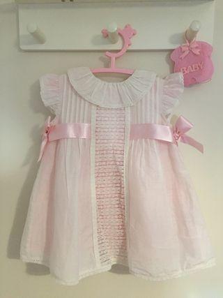 Vestido Niña Lazos Rosa y Blanco