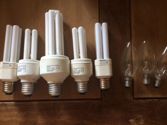 Lote bombillas bajo consumo y vela