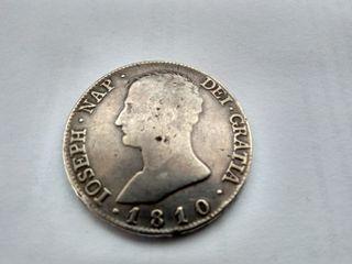 Moneda 20 reales Napoleón 1810 plata