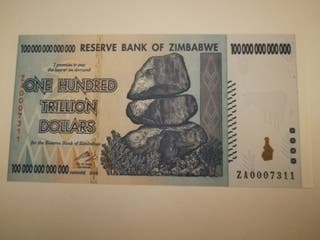 billete Zimbabwe 100 trillon raro