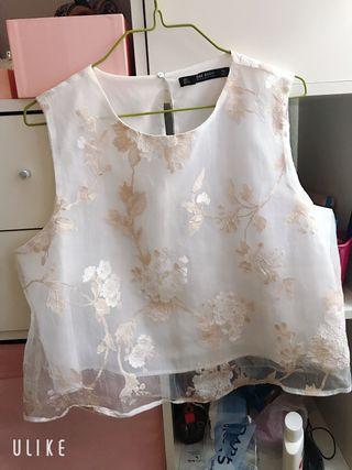 Blusa organza bordado Zara