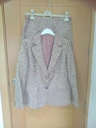 Segunda Y Estampado Por Vestir Mano Chaqueta Falda Conjunto De qXxvYY