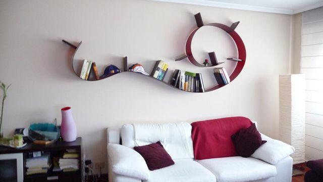 Estantería librería kartell bookworm 5m rojo vino de segunda mano
