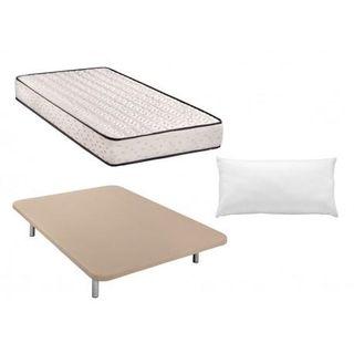 Colchon visco + base tapizada + almohada