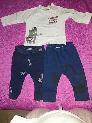 VENDO CONJUNTO DE DOS PANTALONES+camiseta t.9-12m.