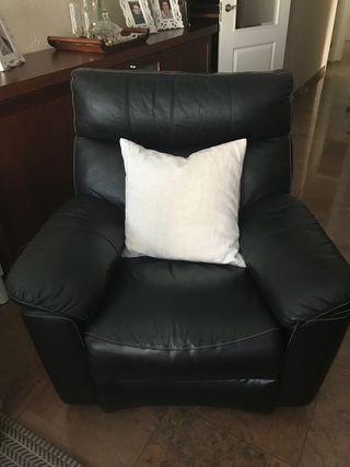 Sofá butaca/butacón relax de piel color negro