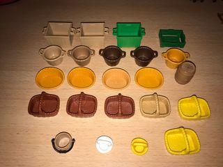 Playmobil lote de 23 cestas, cajas, barril y cubo