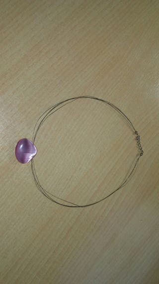 Collar piedra rosa y pendientes a juego