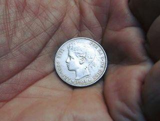 Alfonso XIII. Pesetas de plata 1896-1899 tupé!!
