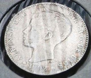 1 peseta plata 1902 Alfonso XIII tupé!