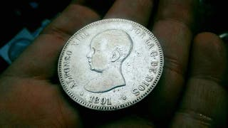 Duro de plata 5 pesetas 1891 Alfonso XIII *91