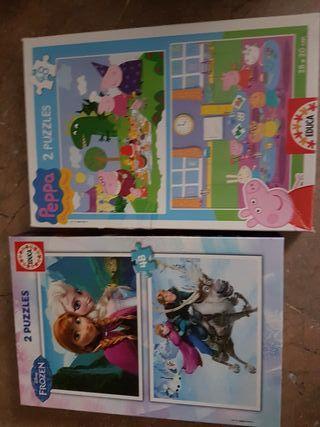 lote de puzzles peppa pig y frozen
