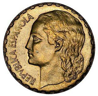 1 peseta latón 1937 Guerra Civil II República