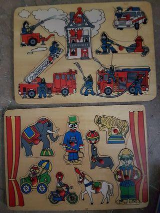 lote de dos puzzles de madera