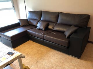 Sofá chaiselonge en cuero negro-marrón