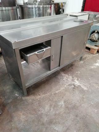 mesa banco puertas acero hostelería