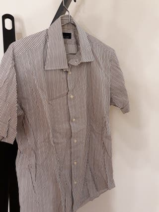 camisa manga corta ajustada Zara rayas