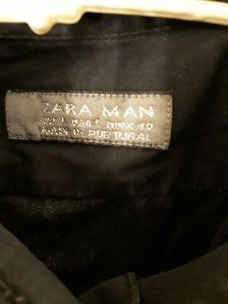 camisa manga corta negra ajustada L Zara man