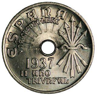 25 céntimos 1937 Guerra Civil Bando Franquista!