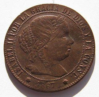 1/2 Céntimo Escudo cobre 1867 Sevilla Isabel II SC