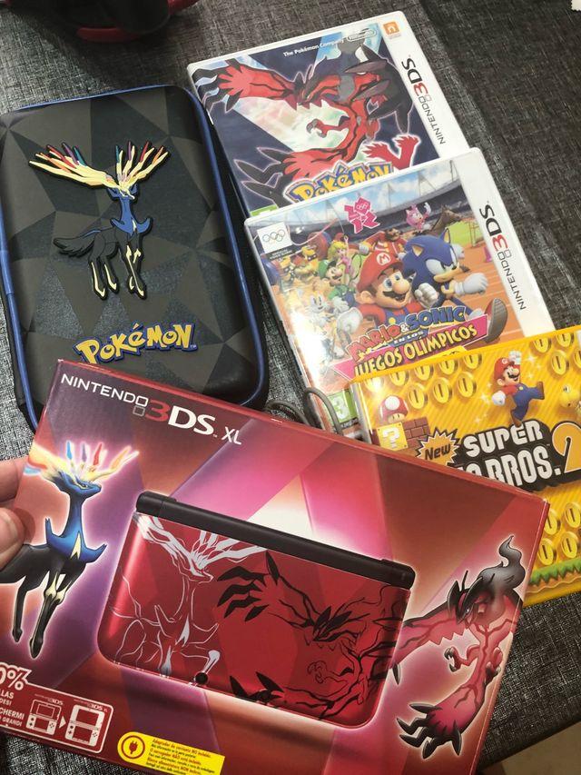 Nintendo 3ds Xl Pokemon 3 Juegos Y Funda De Segunda Mano Por 120