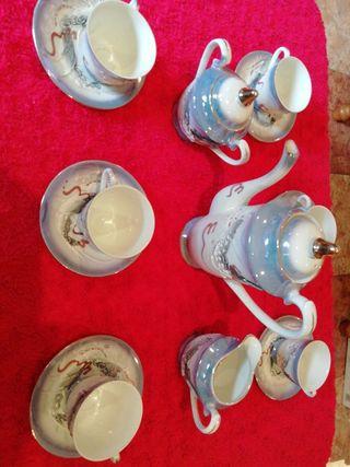 Juego de té oriental cascara de huevo