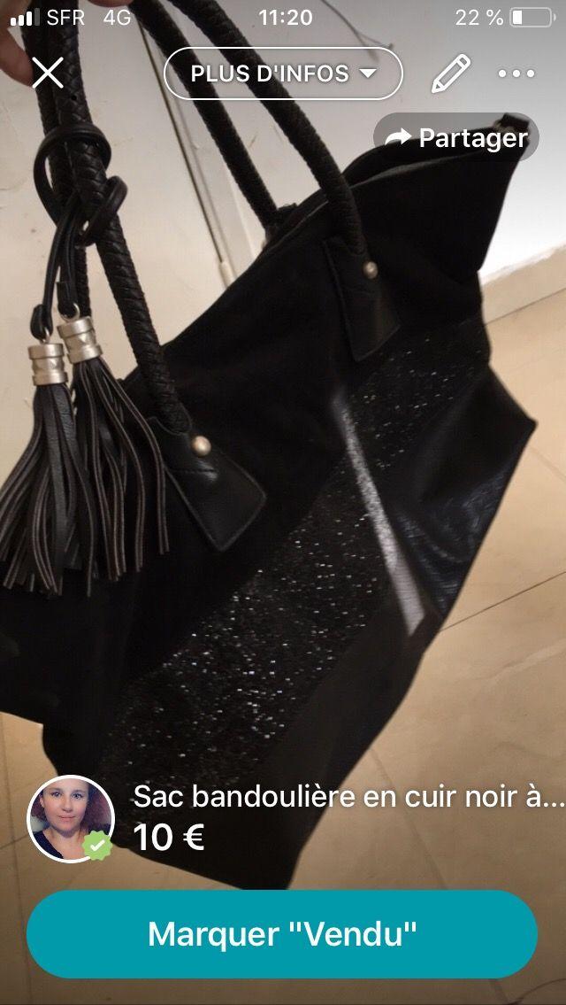Grand sac noir paillettes