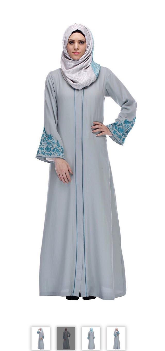 Modest forever embroidered grey nida abaya xxl