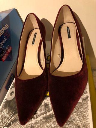 Terciopelo Zapatos De Mano Por Zara 18 Granate Segunda FKTc1lJ