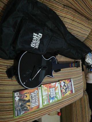vendo guitarra funda y juegos guitar hero xbox 360