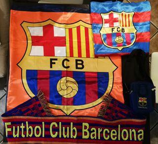 2 banderas, bufanda y bandolera F. C. Barcelona