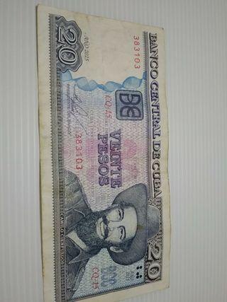 BILLETE 20 PESOS CUBA circulado