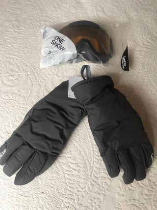 Gafas y guantes de ski a estrenar