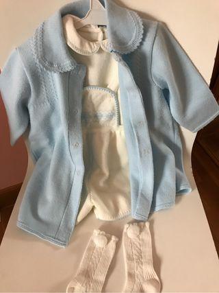 Conjunto tirolés beige + abrigo punto. 12 meses.