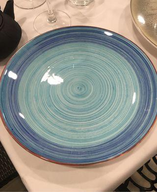 Plato llano 26cm spiral azul