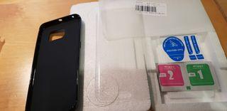 Cristal templado para S6 edge funda silicona negra