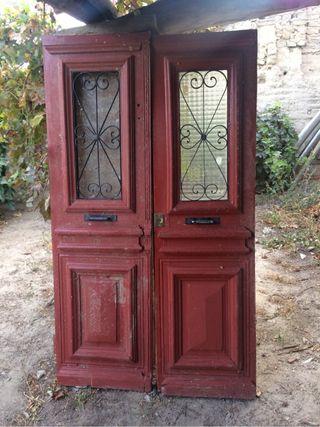 Antiguedad puerta de madera maciza