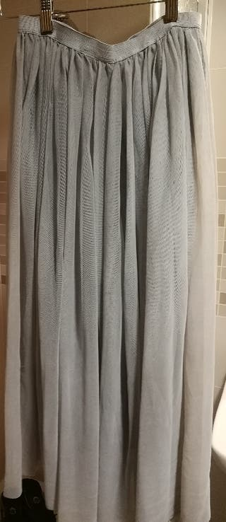 Falda mujer, tul, gris, midi