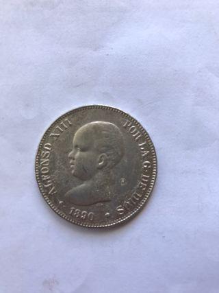 Moneda 5 pesetas 1890 de plata