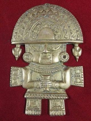 figura azteca de bronce
