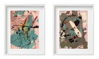 Diptico abstracto cuadros decoración óleo
