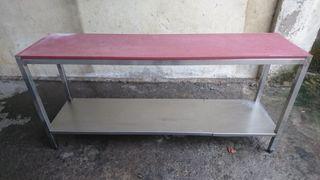 Mesa de trabajo de acero inoxidable con teflón