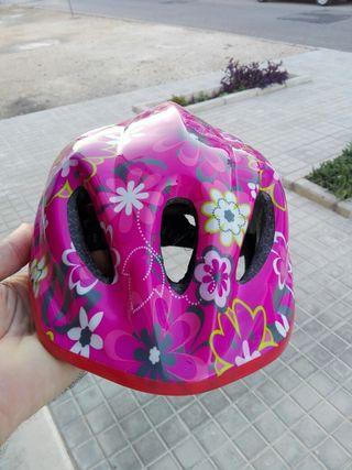 casco bici niña rosa flores