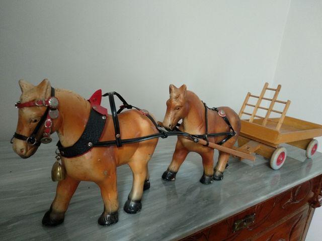Juguete Antiguo Carro Y Caballos De Arrastre De Segunda Mano Por 90