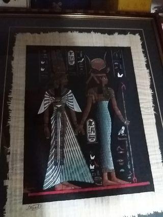 Cuadro con papyro egipcio
