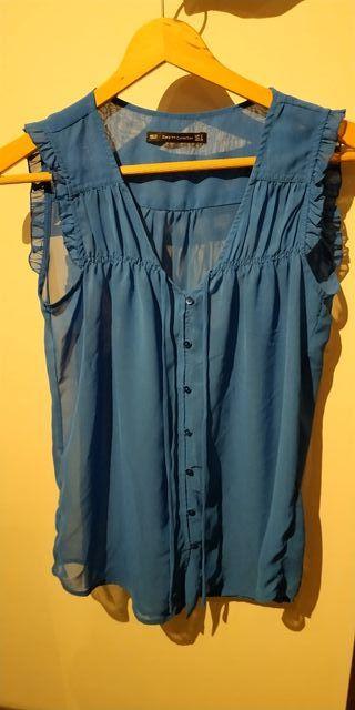 camisa azul talla S zara